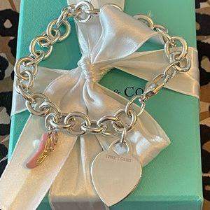 "Tiffany 8"" Heart Tag Ballet Slipper Charm Bracelet"